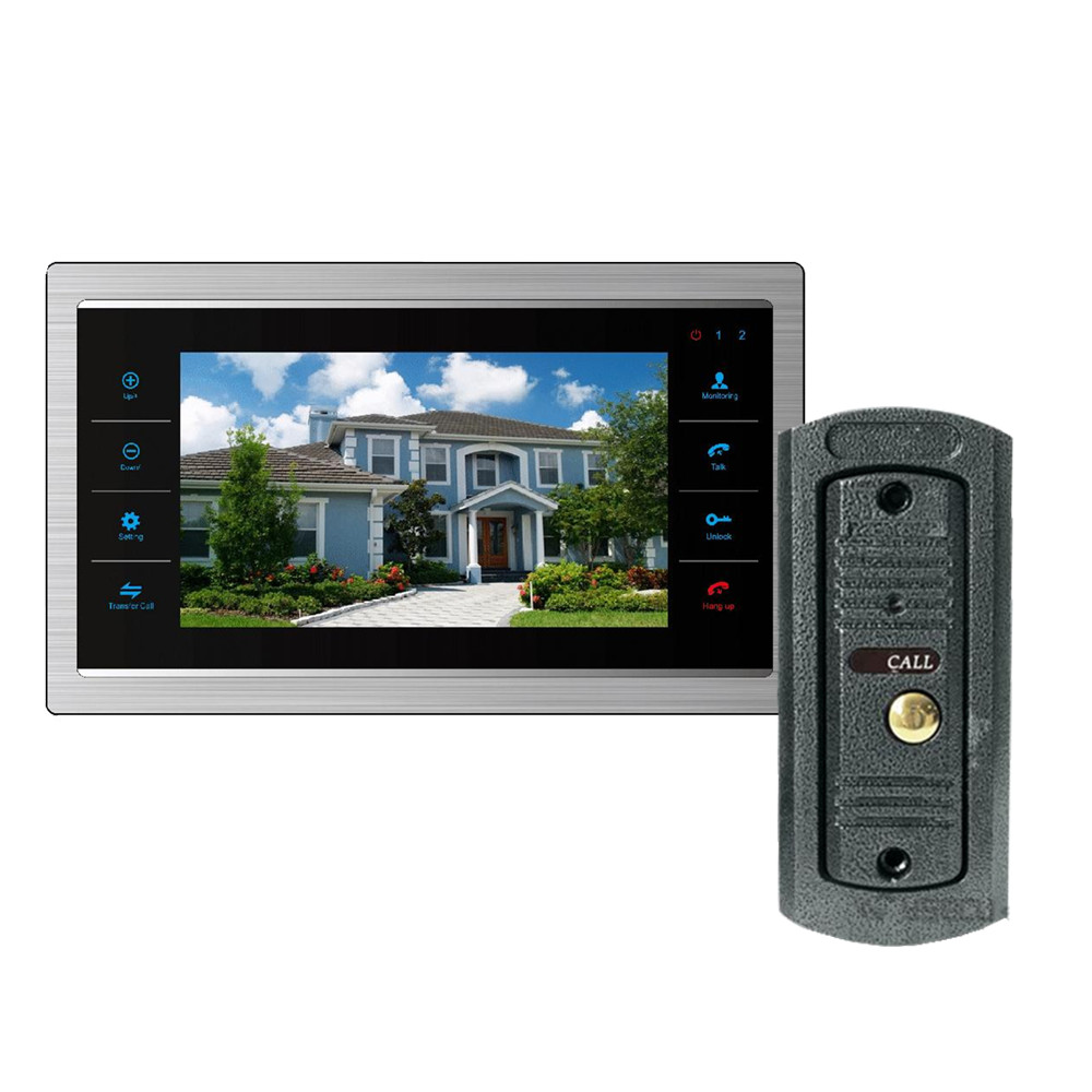 Homefong  7 Inch Video Door Phone Monitor Intercom System/Kit  Doorbell Camera Night Vision 600TVL Recording SD Card Support homefong villa wired night visual color video door phone doorbell intercom system 4 inch tft lcd monitor 800tvl camera handfree