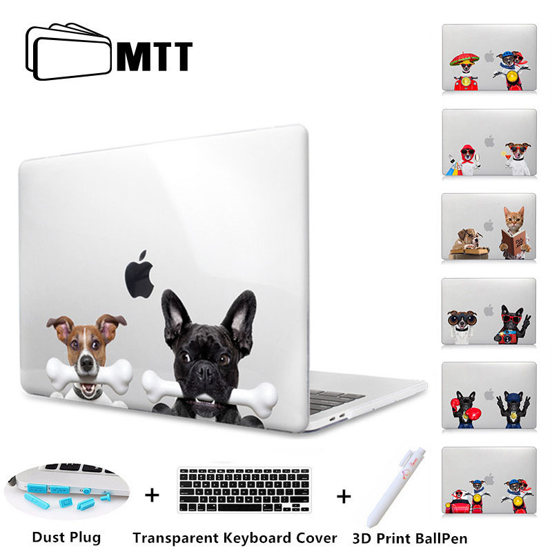 MTT Cartoon Dog Crystal Hard Case For Macbook Pro Retina 13 15 Touch bar Air 11 13 Cover Laptop Sleeve for macbook 12 inch A1534 new leather sleeve protector bag stand cover for macbook air 13 pro retina 11 12 13 15 laptop case for macbook pro 13 touch bar