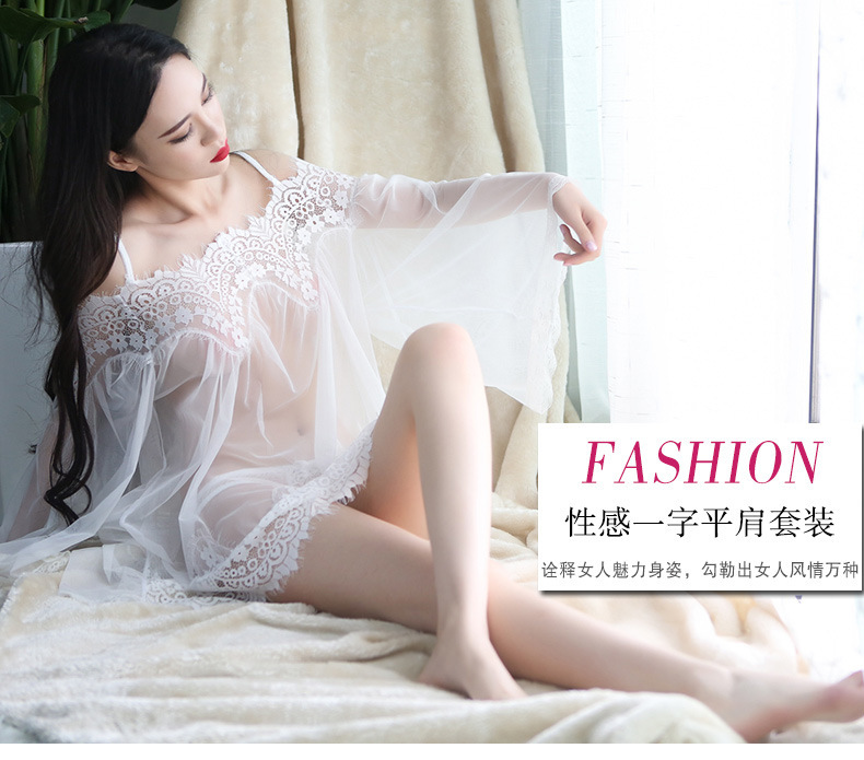 43eb3933da0b RenYvtil Summer (T back) Mature Women Sexy Lingerie Costumes Dress White  Lace Wear Sleepwear Woman Temptation Charm Babydoll -in Nightgowns &  Sleepshirts ...