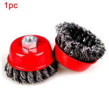 Quick Rust Clean Metal Steel Wire Wheel Durable Flat Cup Angle Grinder Brush Red Strong Paint Remove Rotary Twist Knot Deburring