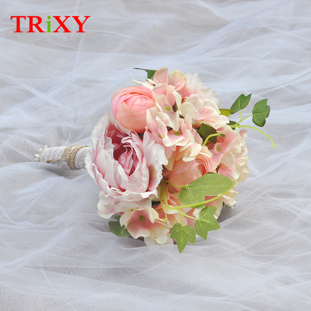 Trixy B15 Free Shipping Charming Wedding Bouquet Bride Bridal Holding Flowers Pink Rose Artificial Flowers Bridal Bouquets Weddings & Events