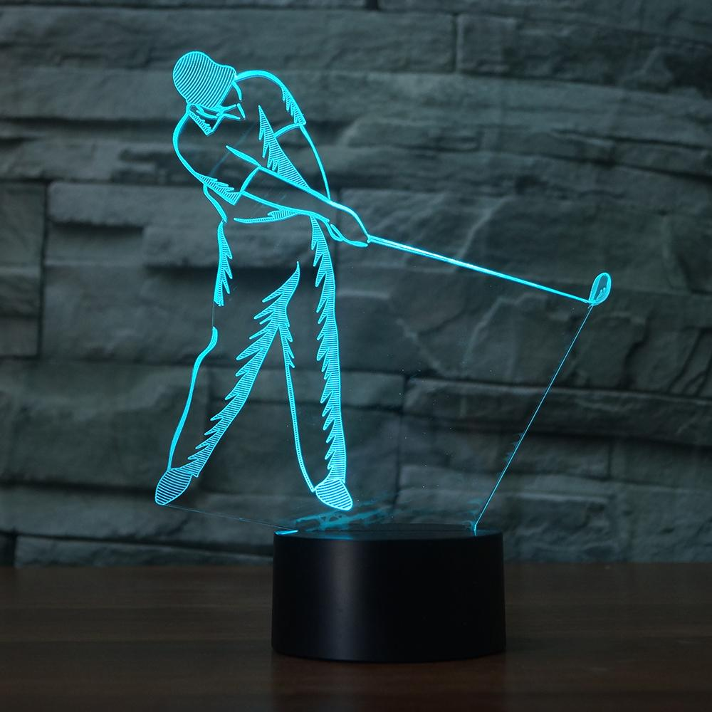 3D Golf Swing Modelling LED NightLight 7 Colors Atmosphere Golfer Table Lamp Baby Sleep Lighting Holiday Kids Gift Bedside Decor
