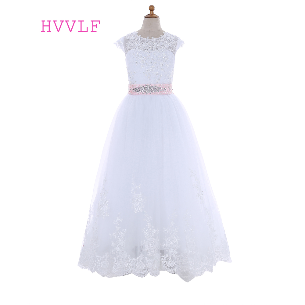 Pink 2019 Flower Girl Dresses For Weddings A-line Cap Sleeves Tulle Appliques Lace Bow First Communion Dresses For Little Girls