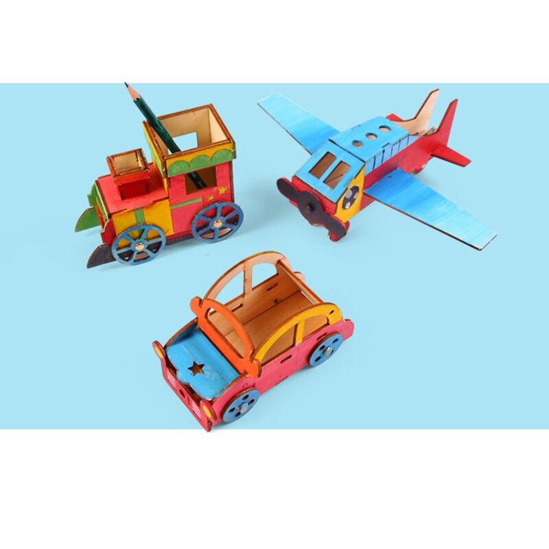 1 pc creative children kids diy assembling wooden vehicle car train airplane building model kits painting