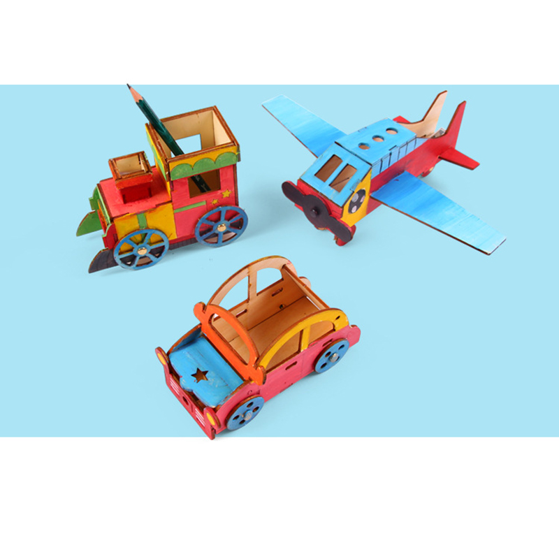 1 pc creative children kids diy assembling wooden vehicle car train airplane building model kits painting