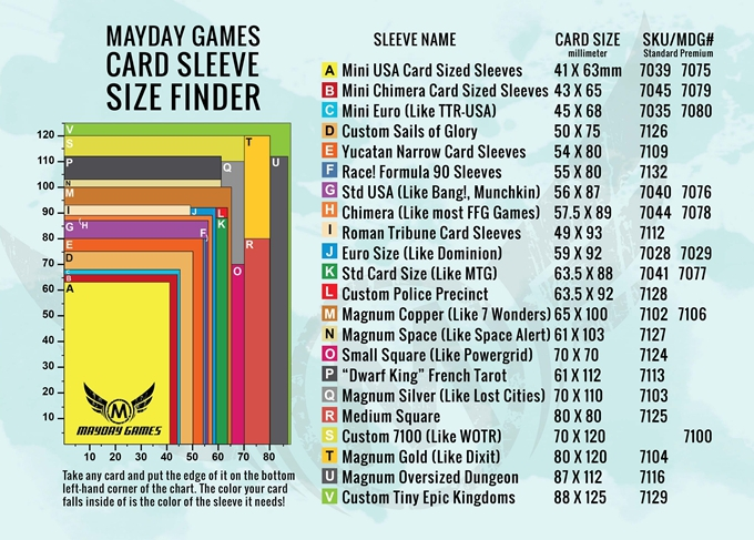 Mayday Games 70 mm x 110 mm CARTE manches-Clair x 50