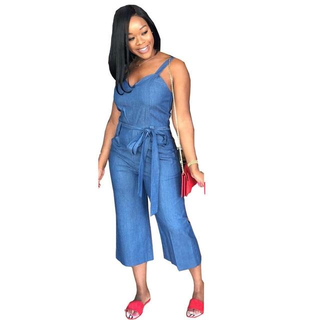 45476629b61b Sleeveless Blue Denim Jumpsuit Women 2018 Summer Sexy Tie Waist Pockets  Cropped Pants Wide Leg Jumpsuit Vintage Jean Overalls