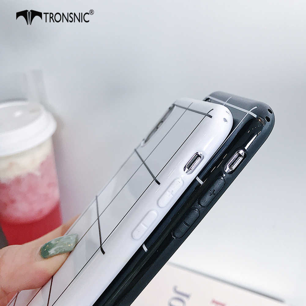 TRONSNIC منقوشة الهاتف حقيبة لهاتف أي فون X XS ماكس XR لينة سيليكون أسود أبيض حقيبة لهاتف أي فون 6S 7 8 Plus الفاخرة يغطي الساخن