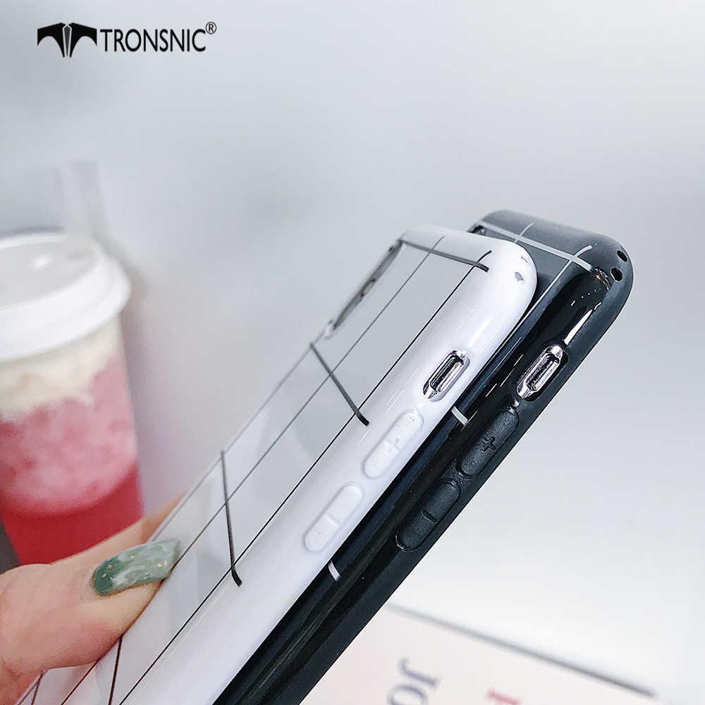 Tronsnic capa xadrez para celular, para iphone x xs max xr iphone 6s 7, macia, de silicone preto e branco 8 mais capas de luxo moda quente