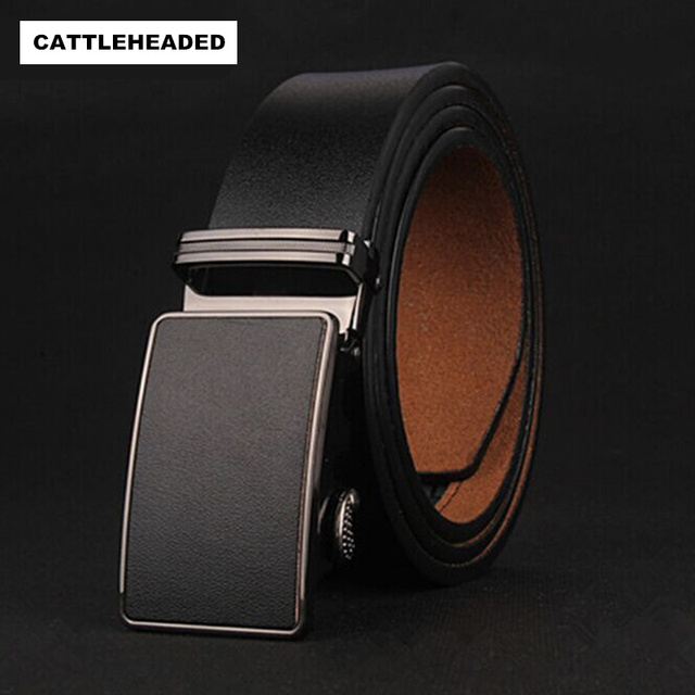 [CATTLEHEADED]  2017 Men's 100% pure leather belt automatic belt buckle fashion new high-end boutique men's belts