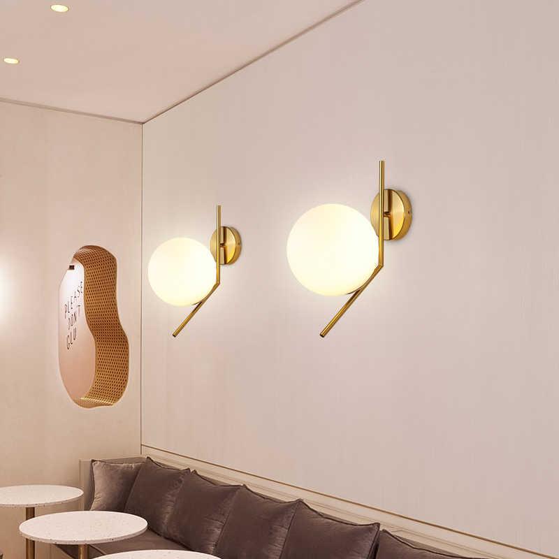 Фойе спальни прикроватный светильник Настенный светильник Современный молекулы, которые оказывают дополнительную стимуляцию для роста волос Лофт бра bean стеклянный шар настенный светильник LED-светильник округлой формы шар настенный светильник