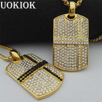 Hip Hop Jewelry Dog Tag Necklace New Arrival Square Pendant Full Rhinestone Stainless Steel Necklace Iced Out Chain Mens Gift