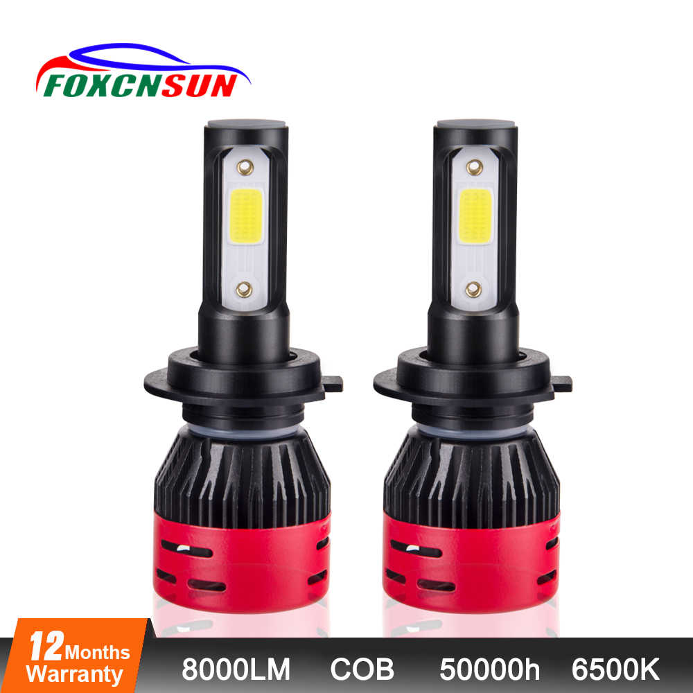 Foxcnsun 2PCS H1 H3 H11 H4 LED H7 Bulbs 4300K 6500K COB 8000LM Car Headlight Kit 72W H8 H9 9005 9006 Auto Headlamp Hi Lo Beam