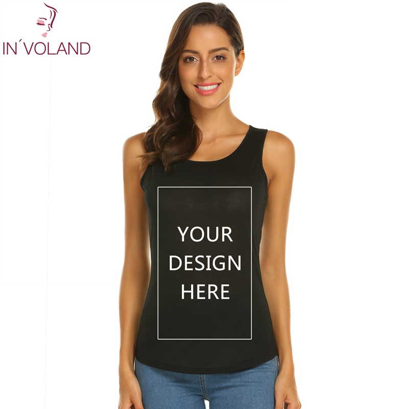 IN'VOLAND Women Summer   Tanks     Top   Shirt Custom Logo Photo Text Printed DIY Sleeveless O-Neck Tees   Top   3XL plus size