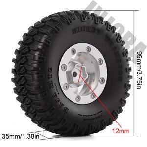 Image 2 - INJORA 4PCS 1.55 Inch Beadlock Aluminum Rim & Wheel Tires 1.55 Tyre for RC Crawler Car D90 TF2 Tamiya CC01 LC70 LC80