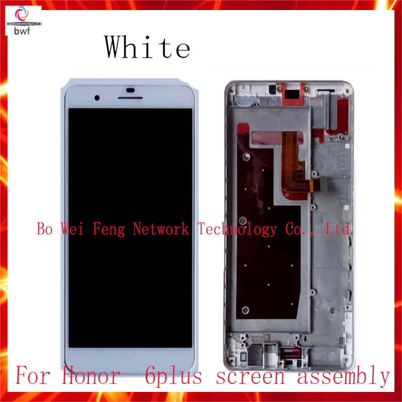 10/pcsHigh Quality!White,black gold LCD Display +Touch Screen Digitizer Assembly For Huawei honor 6plus with frame free shipping