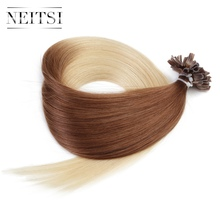 Neitsi Straight Indian Keratin Human Fusion Hair Nail U Tip 100% Remy Human Hair Extensions 20″ 1g/s 50g Ombre Color