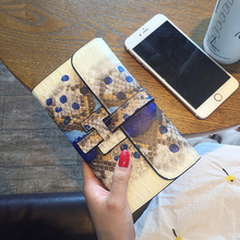 Women 100% Genuine Leather Purse Long Large Hand Bag Ladies Wallet High Quality Vintage Serpentine Girl Sweet Pretty Clutch Bag