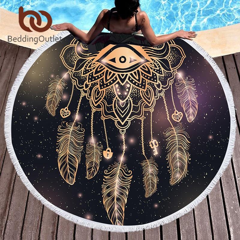 BeddingOutlet Printed Microfiber Bath Towel Large Round Beach Towel for Woman Summer Dreamcatcher Tassel Tapestry 150cm Yoga Mat