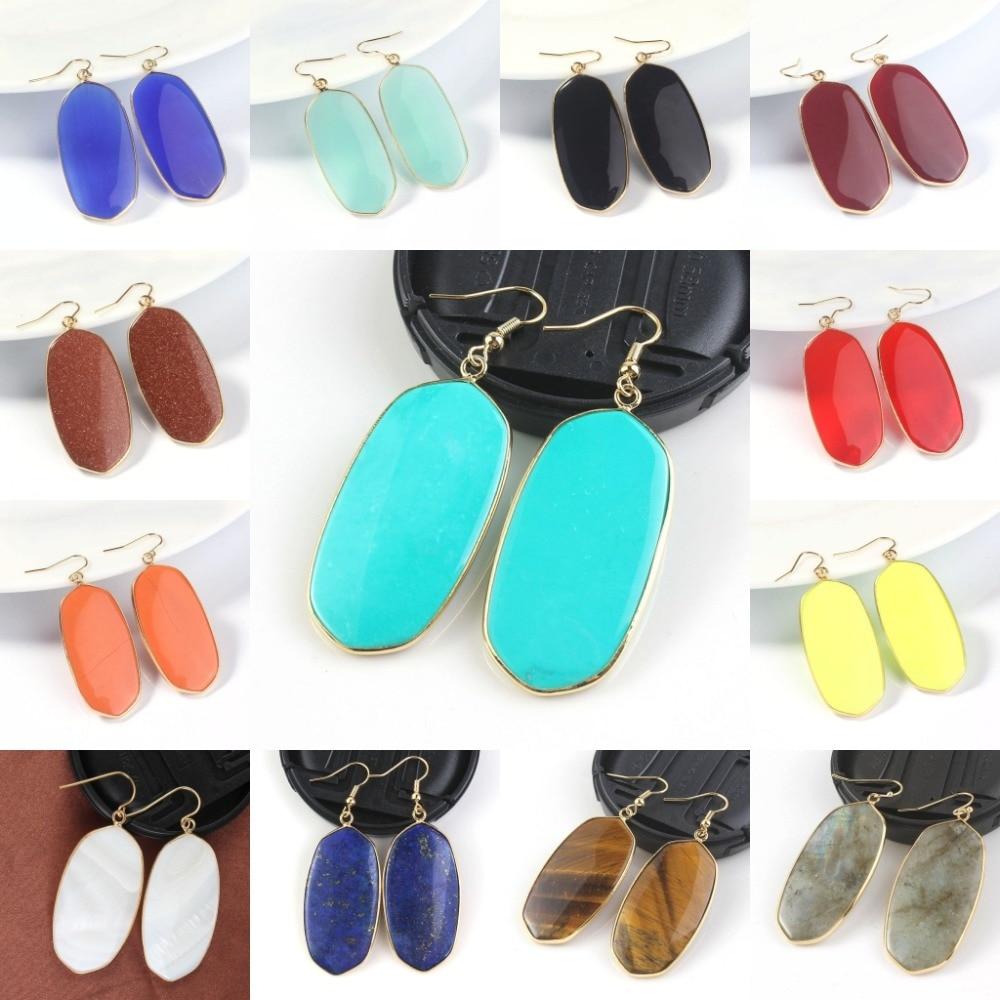 Kraft-beads Light Yellow Gold Color Dangel Hook Earrings Multi Style Quartz Stone Oval E ...