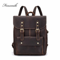 M010 Crazy Horse Cowhide Leather Backpack Men Vintage Genuine Leather Daypack School Book Laptop Bags Travel Rucksack Mochila