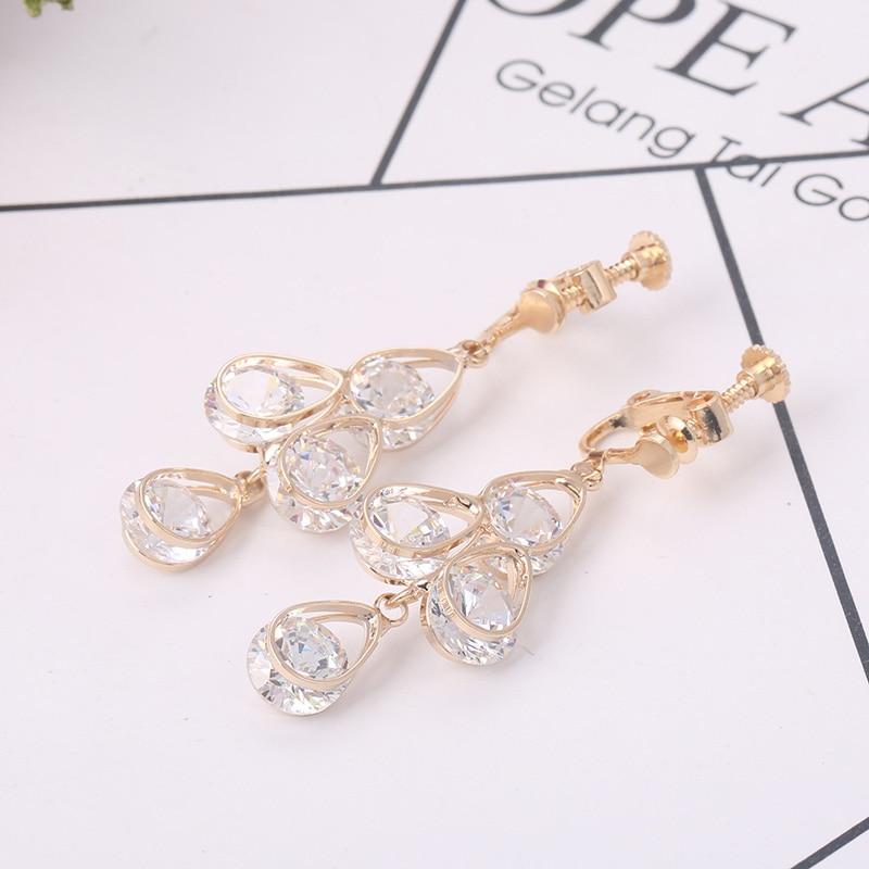 Grace Jun Korea Style Full Cubic Zircon 4 Water Drop Shape Clip on Earrings Without Piercing for Women Party Charm Earrings Gift цена