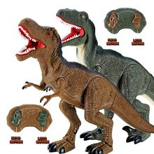 2018 New Electronic Dinosaur Roaring Walking RC Toys Electronic Pet Robot Dinosaur Model Toy With Music Light Kids Birthday Gift(China)