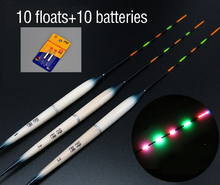 JSFUN 10pcs Fishing Floats +10pcs CR425 battery Night Buoys Electronic Float Light stick Fishing Tackle Accessory FF24