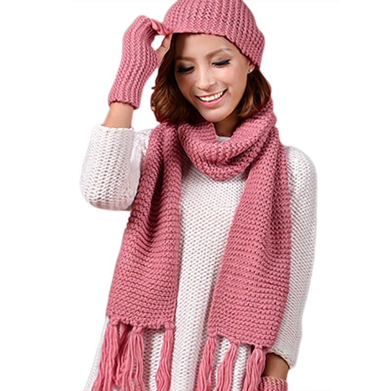 Women\'s Hat Scarf Glove Set 3 Piece Sets Fashion Twist Stripes Cap Gorros Bonnet Wool Beanie Skullies Knitted Winter Hats
