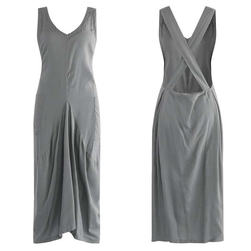 De talla grande vestido clásico con plisados ZANZEA mujer's Sundress mujer cuello en V sin mangas Midi Vestidos Kaftan Casual liguero Vestidos