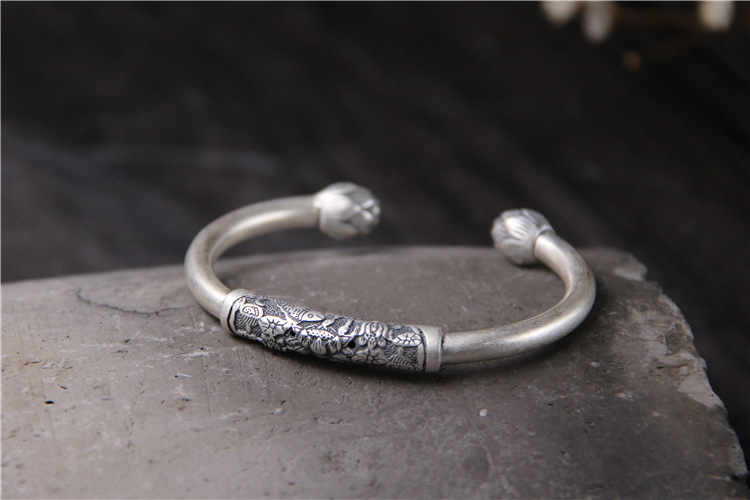 S990 Sterling Silver Lotus Flower Bangle Male And Female Retro Thai Silver Vintage Ethnic Style Carved Open Ended Bangle