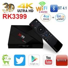 L8STAR X99 4 Гб Оперативная память 64 Гб RK3399 3D Android 7,1 Smart ТВ BOX 2,4G Wi-Fi BT4.0 удаленного USB3.0 5G HD mi 4 K IP ТВ Smart mi A5X Set Top
