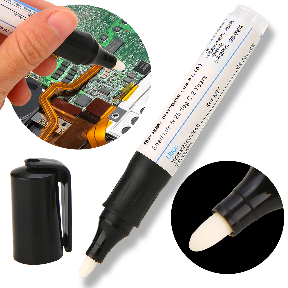 1X New 10ml Soldering Flux Pen Low-Solid Non-Clean Surface Mount Solar Panel White Head Rosin Flux Pen