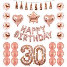 40 pouces or Rose 13 15 17 20 21 25th numéro ballon joyeux 30 anniversaire or Rose confettis ballon avec F joyeux anniversaire bannière