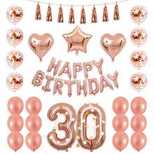 40inch Rose Gold 13 15 17 20 21 25th Number Balloon Happy 30 Birthday Confetti with F Banner