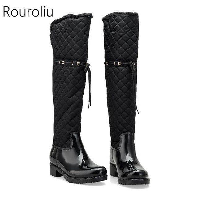 Rouroliu Kadın Kauçuk Patchwork yağmur çizmeleri Kare Topuklu Diz Kış sıcak Kürk Rainboots su ayakkabısı Kadın TR219