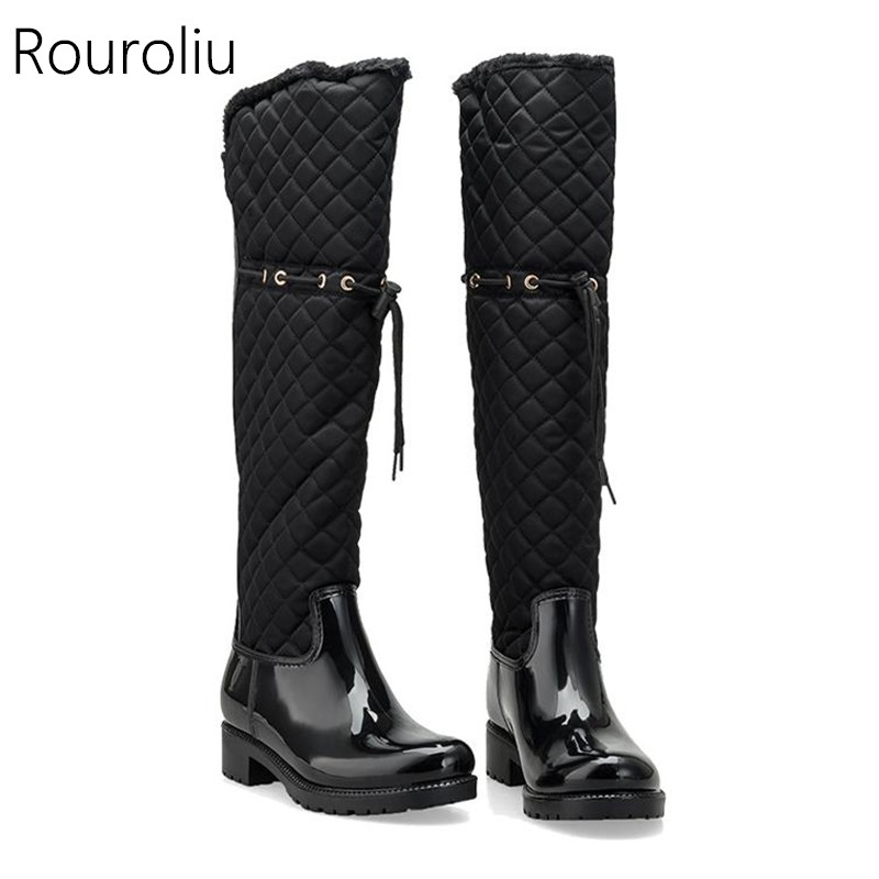 71c820f6e4e Rouroliu Women Rubber Patchwork Rain Boots Square Heels Over Knee Winter  Warm Fur Rainboots Water Shoes Woman TR219