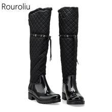 Rouroliu/женские резиновые непромокаемые сапоги в стиле пэчворк