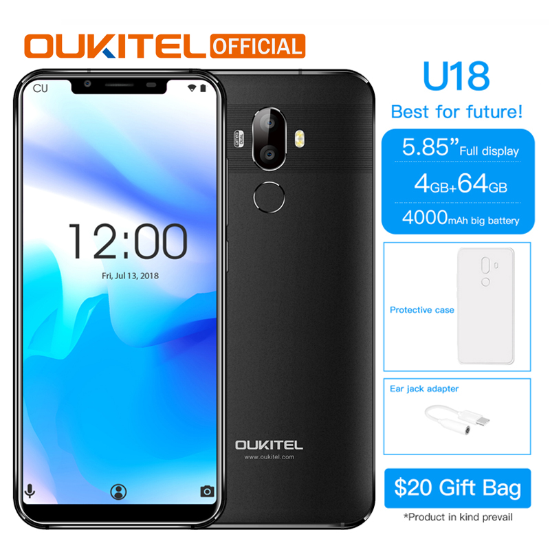 "OUKITEL U18 5.85"" Full Display Mobile Phone MT6750T Octa Core Android 7.0 4G RAM 64G ROM 4000mAh Face ID Fingerprint Smartphone(China)"