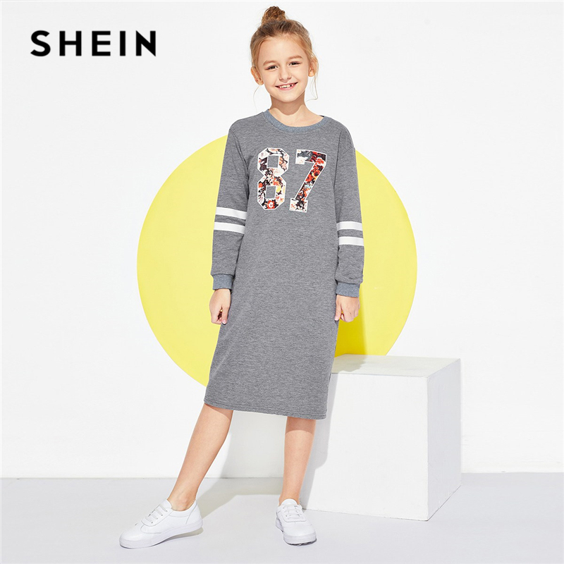 SHEIN Kiddie Letter Print Casual Tunic Girls Sweatshirt Dress 2019 Spring Long Sleeve Elegant Kids Dresses For Girls Clothes girls tie neck polka dot dress