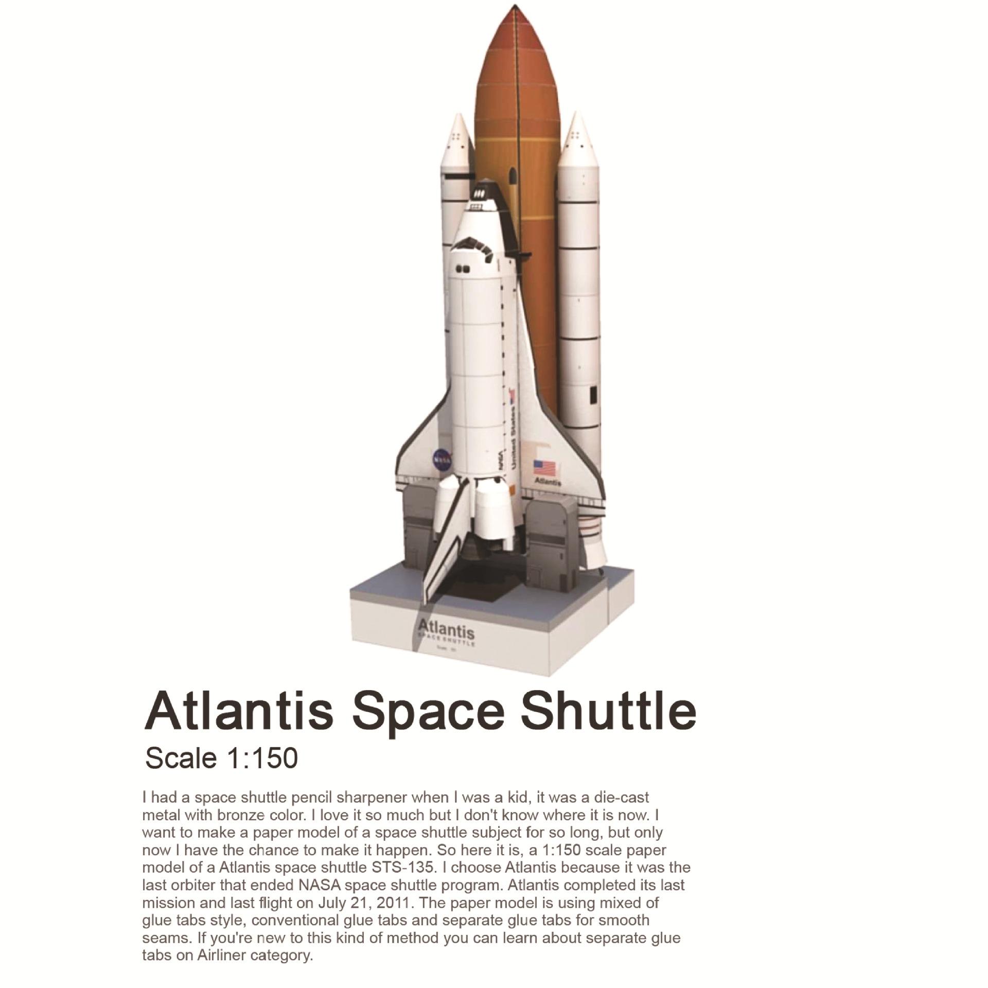 1:150 Scale Space Shuttle Atlantis 3D Puzzle Paper Model Gift Hot DIY K9R3