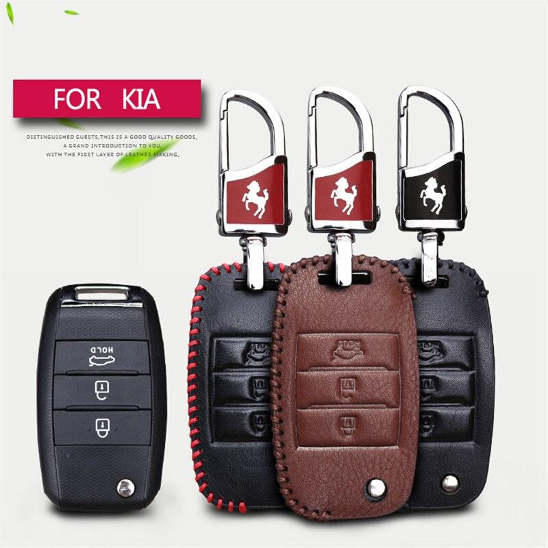 Genuine Leather Car Remote Key Cover Case Keyring For Kia Ceed Rio K2 Picanto Soul Sportage 3 K3 Cerato 2017 Key Chain Case Bag