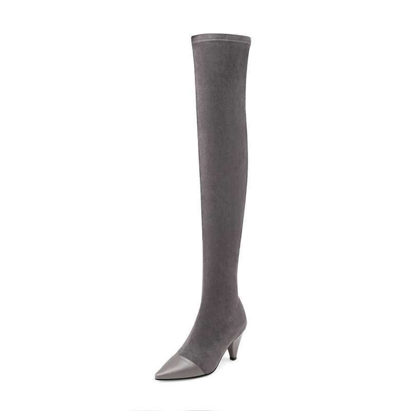 Genou Cuisse Chaussures Laid 2019 D'hiver Occasionnels Nouvelle Mode Le Bottes De Haut gris Wen 39 Femmes Sur Noir Talon 35 Taille Pointu apP8wIIxn