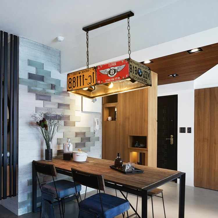 Vintage Loft Retro License Plate LED Pendant Lights Iron Lamps for Dining Room Bedroom Lights Restaurant Bar Decor Industrial