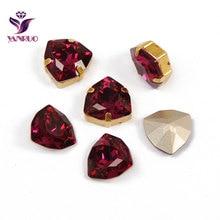 YANRUO 4706 Trilliant Fuchsia DIY Glass Tri Bright Rhinestones Sew On Crystal Precious Stones Applications For Wedding Dress