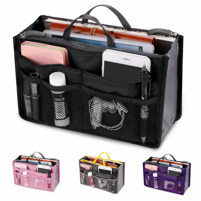 Women Foldable Organizer Handbag Travel Bag Large Capacity Insert Liner Purse Organiser Pouch Lady Bag