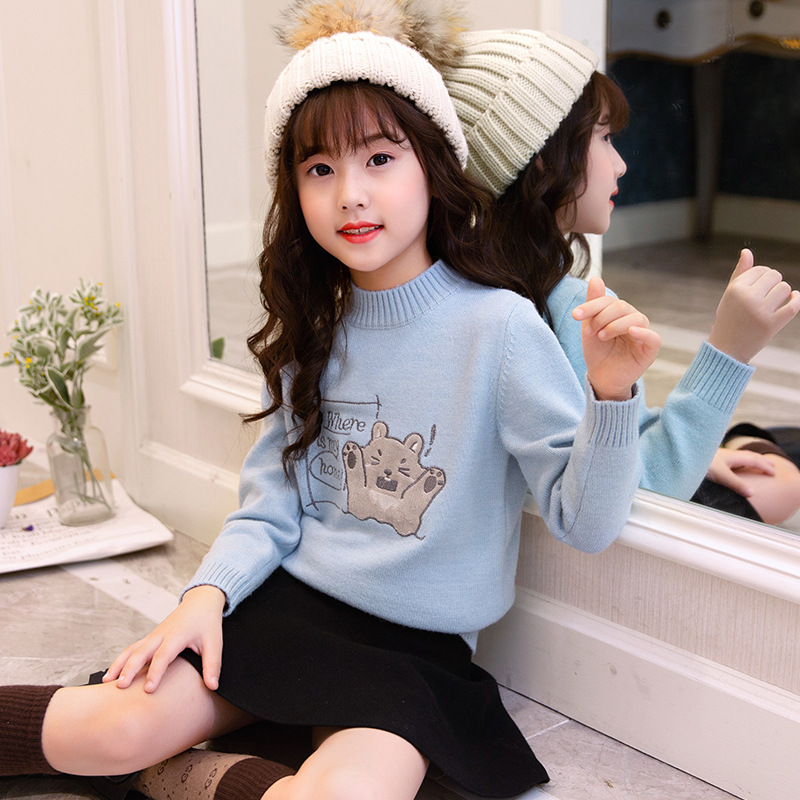 2018 Baby Girl Christmas Sweater Winter Kids Clothes Toddler Girl Long Sleeve Warm Sweaters Pullover Tops 9 10 Pull Enfant Fille sundae angel baby girl sweater kids boy turtleneck sweaters solid winter autumn pullover long sleeve baby girl sweater clothes