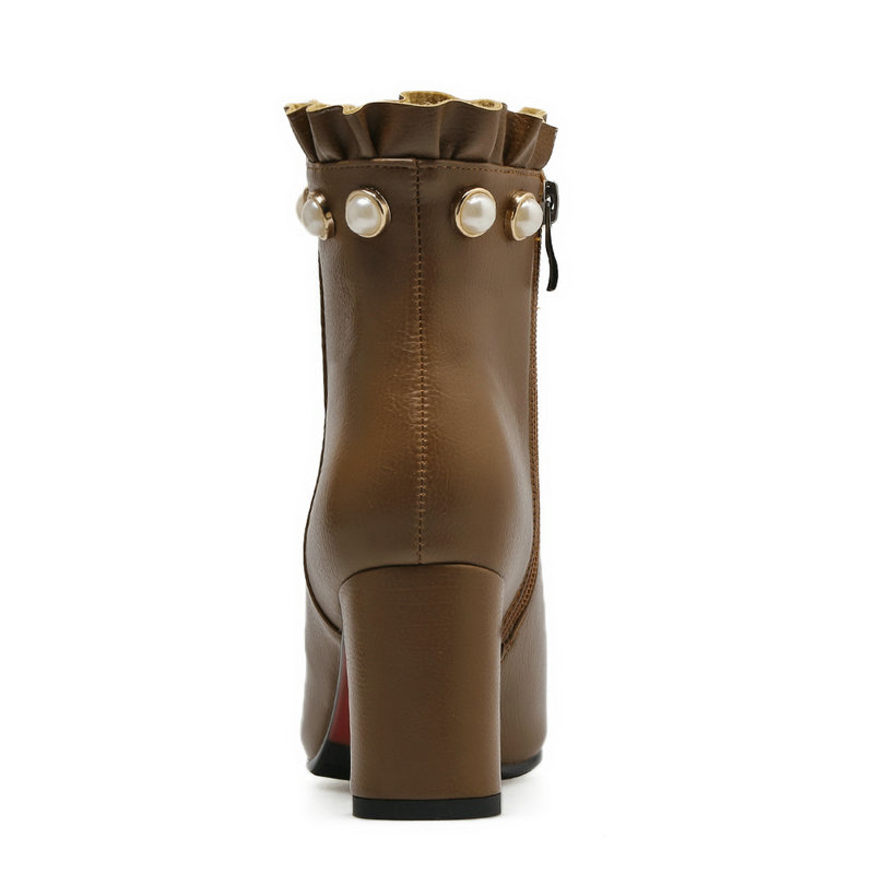 Cómodo Negro Invierno Lateral Caqui Negro Zapatos Cremallera Cordón Tacón khaki Del Botines Cuadrado Moda Señora Calientes qBFcgwcPE