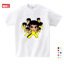 Boys/Girls Bruce Lee Cartoon Print T shirt Kids Funny Clothes Boys and Girls Summer White short  cotton t 3-12 years