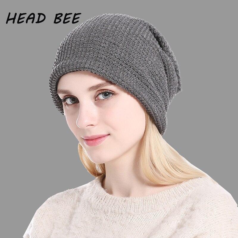 [HEAD BEE] Fashion Beanies Hat Skullies Cotton Lady 2017 Knitted Hat Warm Women Winter Cap Outdoor Bonnet Hat skullies